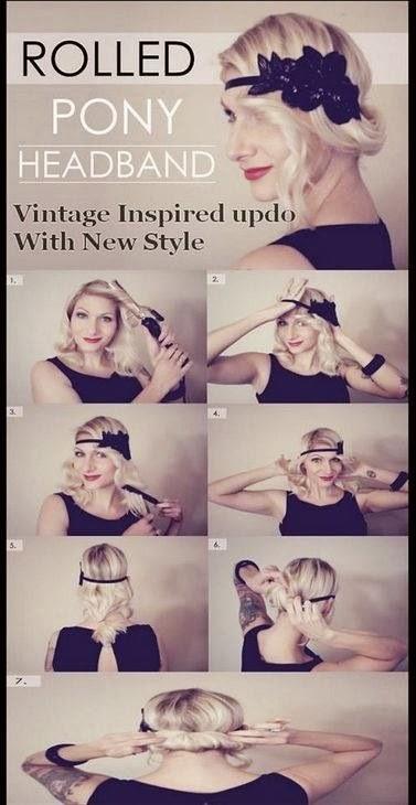 8 penteados de festa - Preso com tiara estilo anos 20