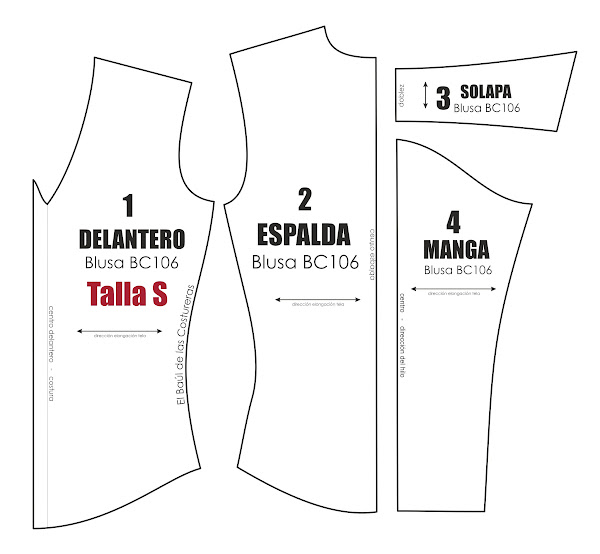 Patrón costura gratis blusa manga larga