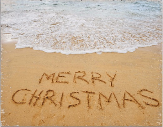 Perfect Merry Christmas Sand Writing Photo Canvas