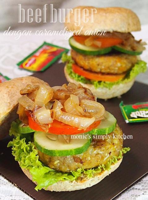 resep cara membuat caramelized onion burger