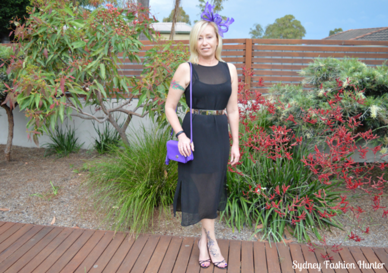 Sydney Fashion Hunter - Black Sheer Dress, Silver Hoop Belt, Purple Coach Crossbody Jimmy Choo Jag Sandals