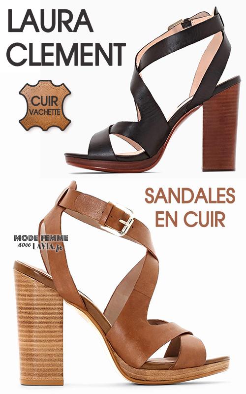 Sandales à talons en cuir Camel ou noires Laura Clement