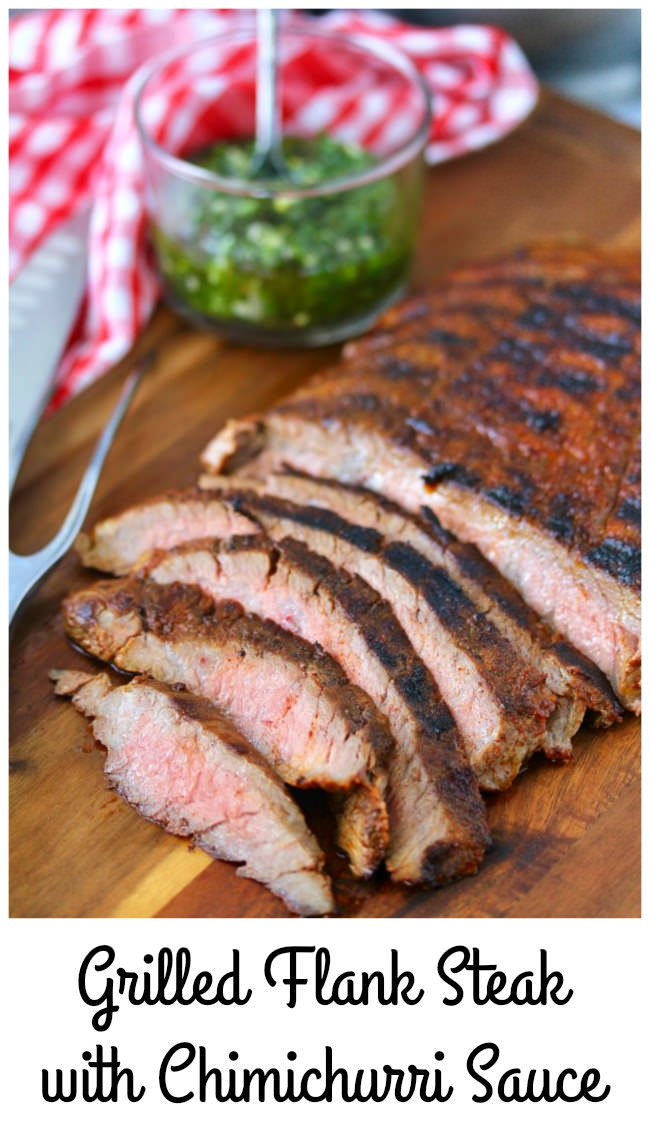 Sliced grilled Flank Steak with Chimichurri Sauce and spice rub