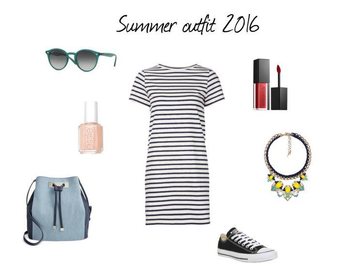 Paski, denim i matowa czerwona pomadka, stylizacja na lato, moda, blog modowy