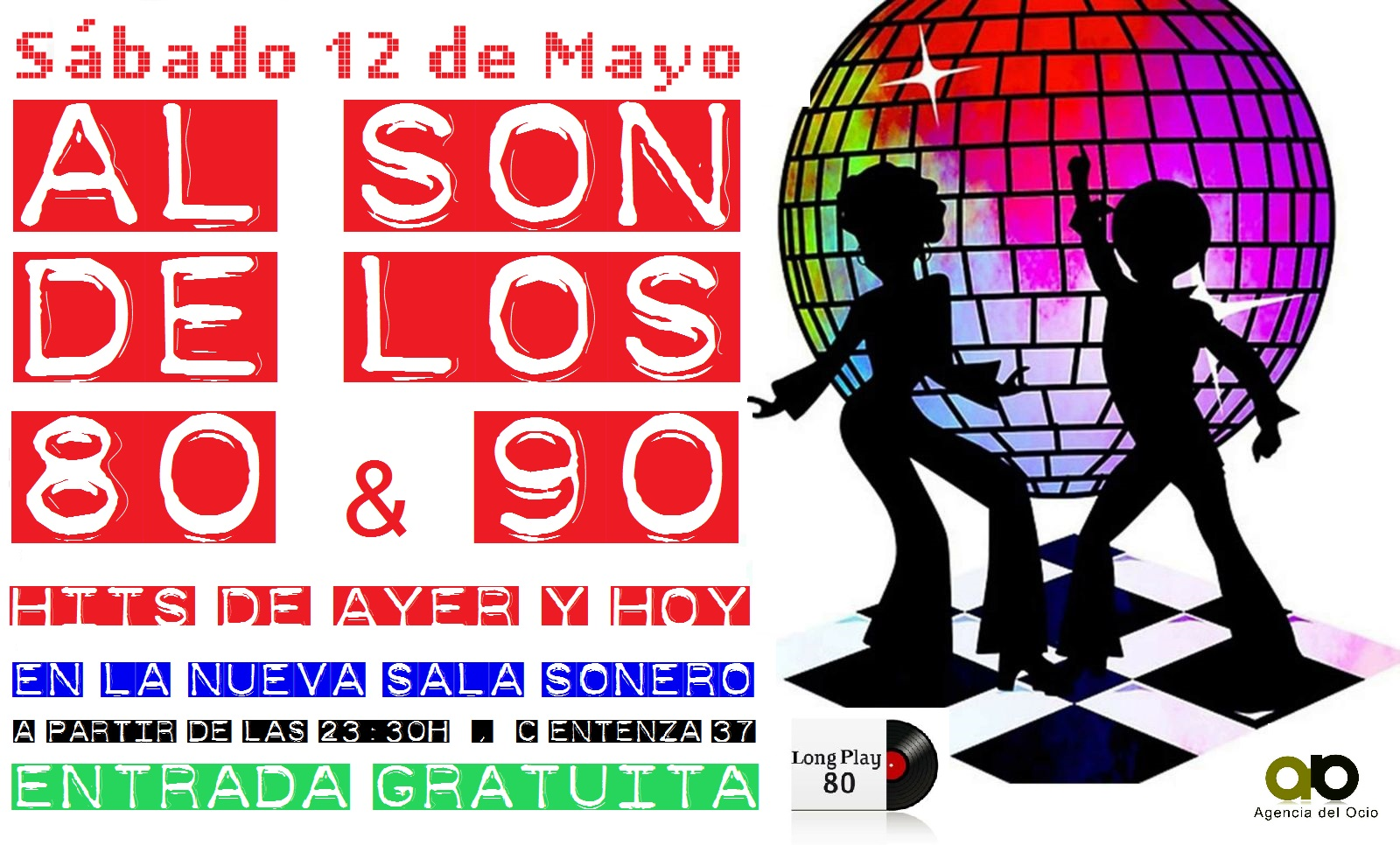 Flyer Fiesta Al Son De Los 80s & 90s