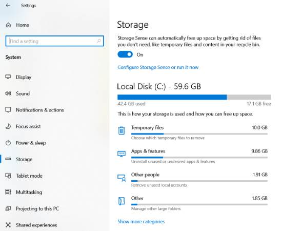 delete windows old installation files storage sense
