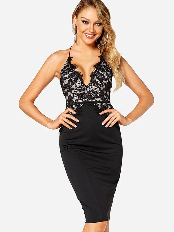 Black Lace Details Cut Out Halter Sleeveless Bodycon Dress