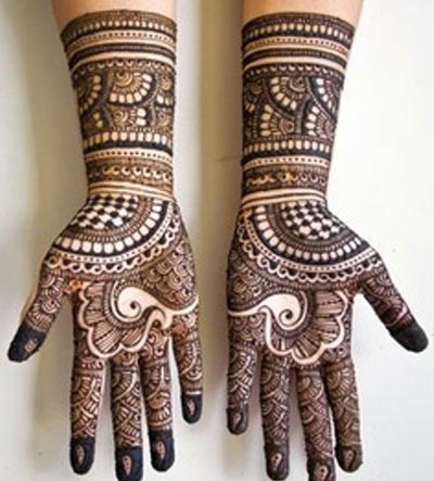 Dulhan Mehendi Designs With Lattice