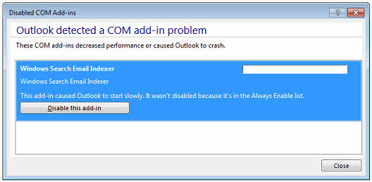 Here's how the addin will be listed as Slow Add-In but Outlook will force load it