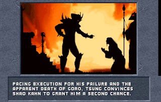 Captura de Mortal Kombat 1992 con el texto: Facing execution of his failure and the apparent death of Goro, Tshung convinces Shao Kahn to grant him a second chance