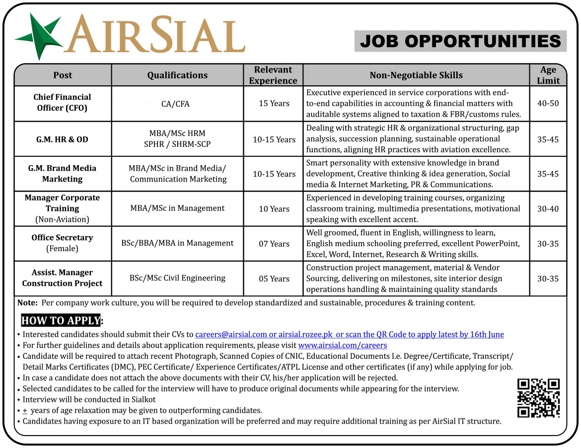 Chief Financial Officer, Media marketing, Manager Consultant jobs in Air Sial Pakistan 13 June 2017.
