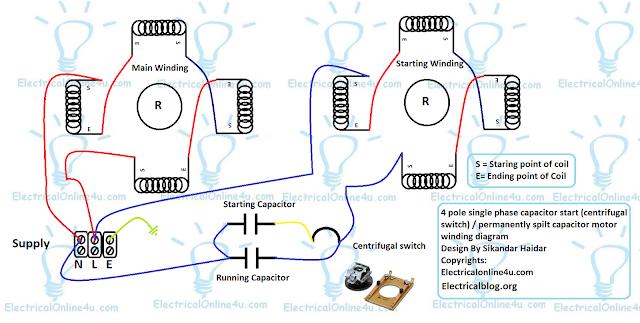 4 pole induction motor winding diagram