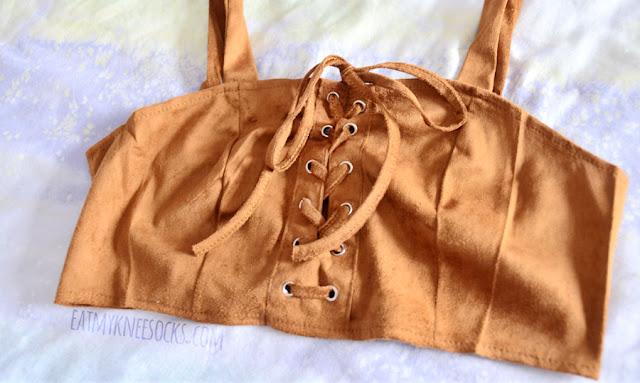 Brown faux suede lace-up bustier bralette crop top from Dresslink.