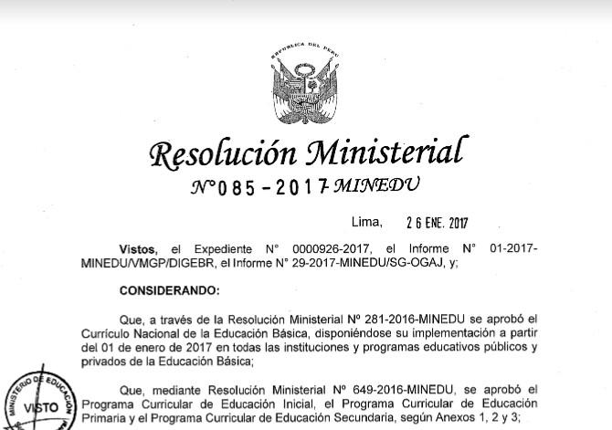 Comentario al d a rm n 085 2017 minedu incorporan nuevas for Nuevo curriculo de educacion inicial