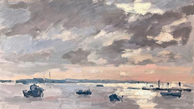 #293 'Winter Sun, Emsworth Harbour' 8×14″