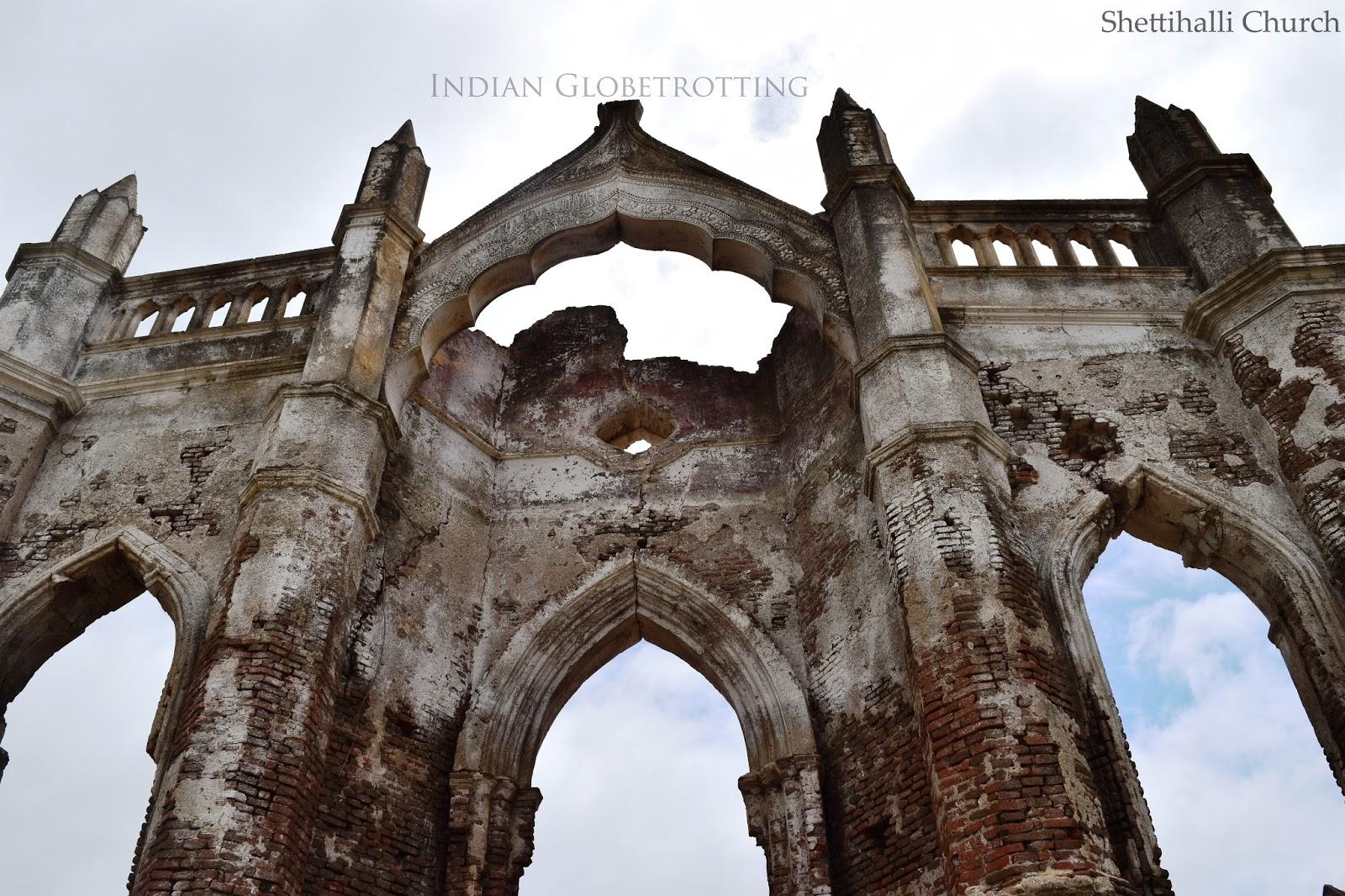 Arches of Shettihalli Church built in Gothic Style, Karnataka