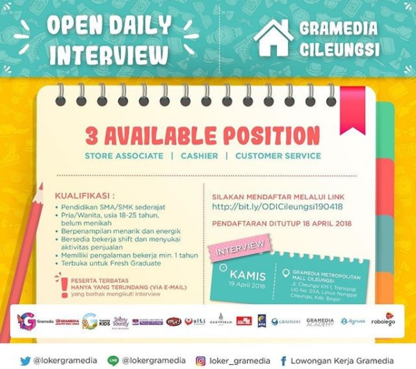 Walk In Interview Gramedia Cileungsi Pendaftaran Ditutup 18 April 2018