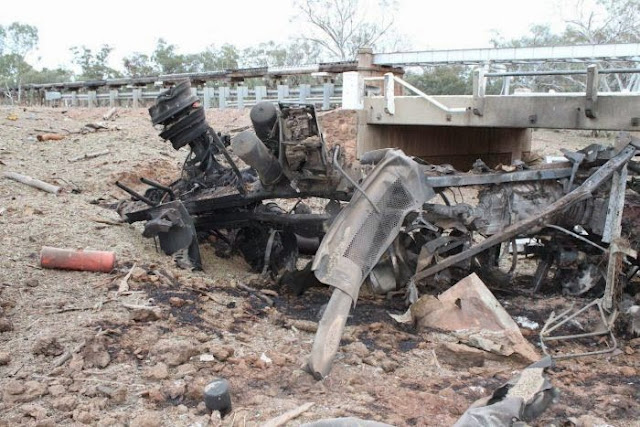 Wreckage of a truck that exploded near Charleville in south-west Qld
