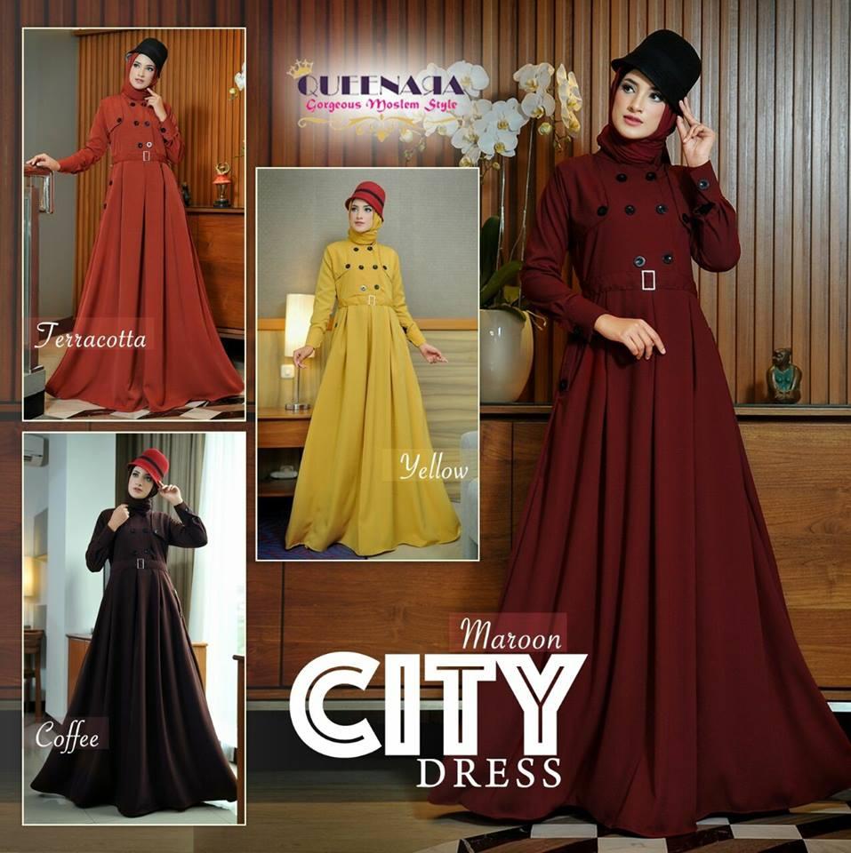 Duahijab Boutiq City Dress By Queenara Aretha Tunik 4warna