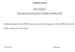 IBPS Clerk Main Exam Result