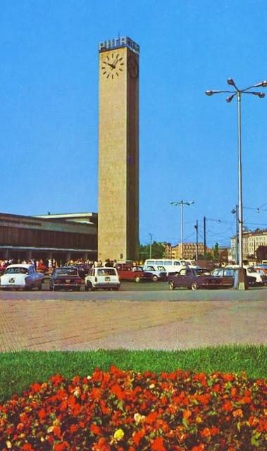 Начало 1970-х годов. Рига. Привокзальная площадь (из набора открыток Советские железные дороги, фото А. Волкова).