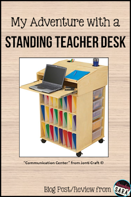 Standing desks are all the rage lately, but what about a standing teacher desk? Teachers already stand a lot during the day, so how useful can this really be? I'm sharing all of the positives and negatives I experienced from using a standing teacher desk, so click through to read my review!