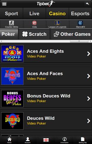 Tipbet Mobile Video Poker Screen