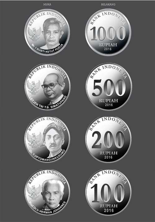 4 pecahan uang rupiah logam baru TE 2016