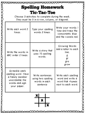 tic tac toe homework template - lucky in learning weekly spelling tic tac toe