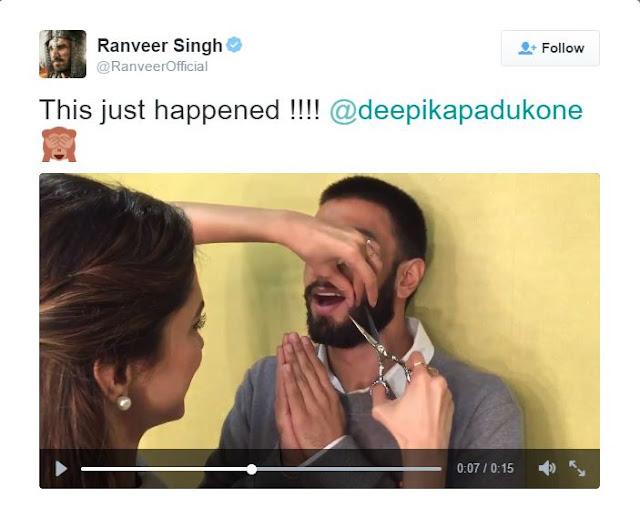 रणवीर के ट्वीट इस वीडियो में दीपिका उनकी मूँछे काट रहीं हैं।
