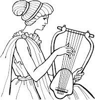 אישה מנגנת על נבל