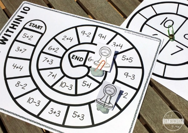 addition and subtraction math games for kindergarten and first grade kids