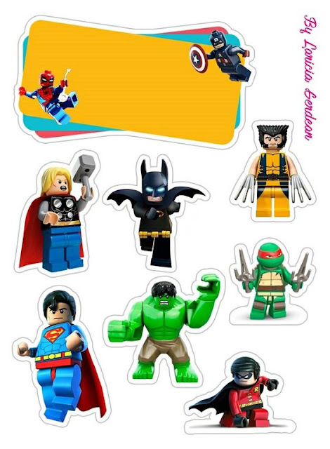 Super Héroes Lego: Toppers para Tartas, Tortas, Pasteles, Bizcochos o Cakes para Imprimir Gratis.