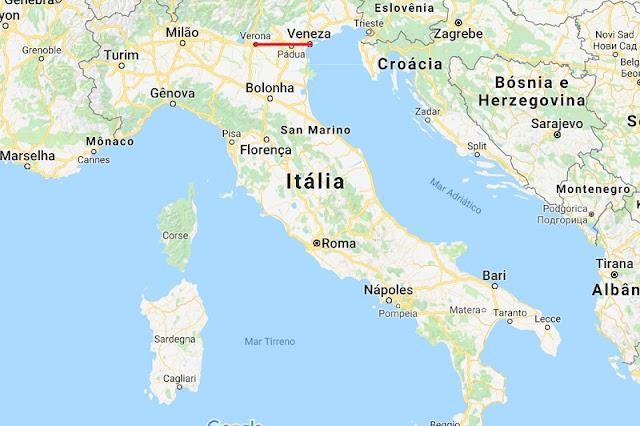 Mapa da viagem de Veneza a Verona