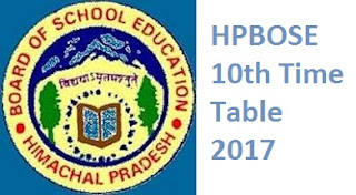HPBOSE 10th Time Table