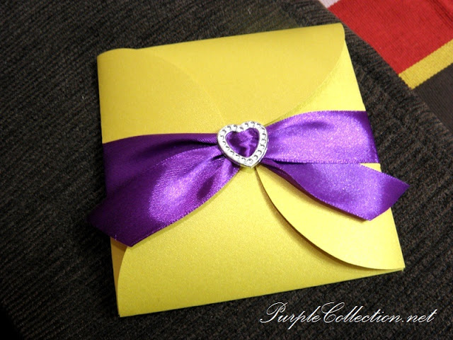 Petal Fold Wedding Card, Pearl Gold Card, Purple Ribbon, heart buckle, London, United Kingdom, The conservatory at Painshill park
