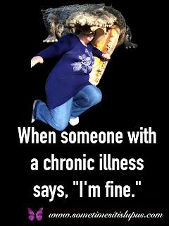 "Image: Me, about to be swallowed by a crocodile. Text: ""When someone with a chronic illness says, 'I'm fine.'"""