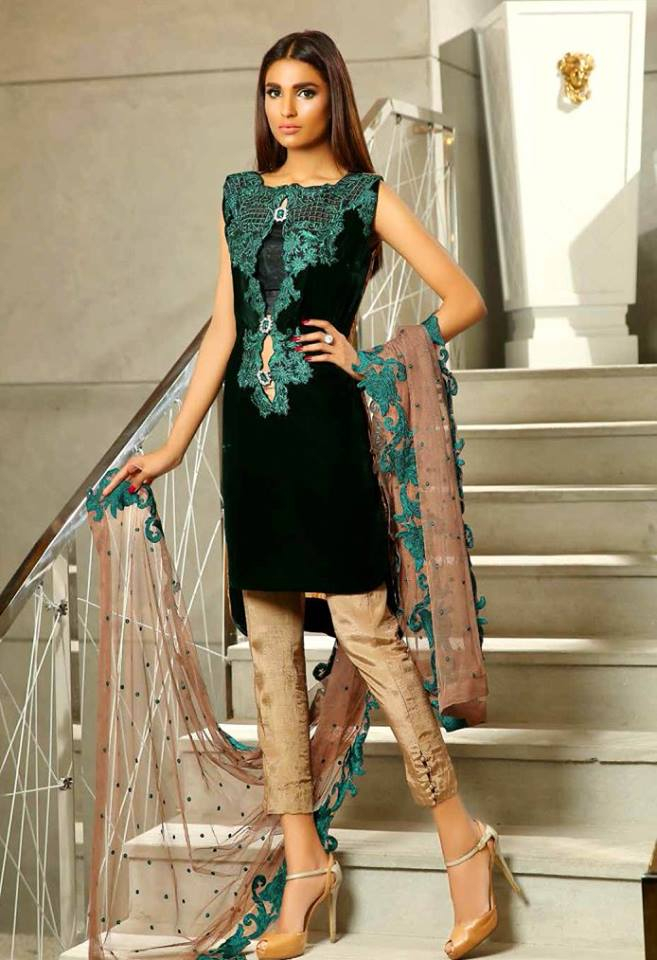 New Party Wear Winter Collection 2016 By Sobia R