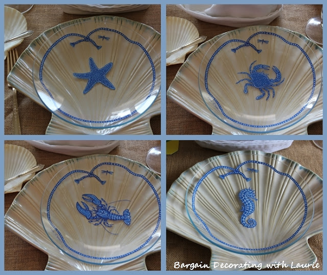 Lynn Chase Glass Fish-themed salad plates-Bargain Decorating with Laurie