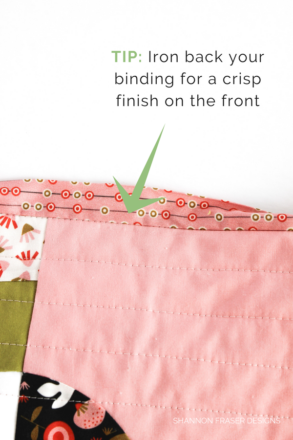 Ironed back binding in preparation for hand binding | quilt binding tutorial part 2 | Shannon Fraser Designs