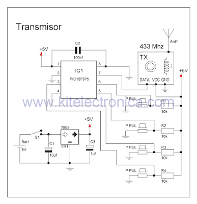 Módulos de RF con PIC transmisor de 433 Mhz.