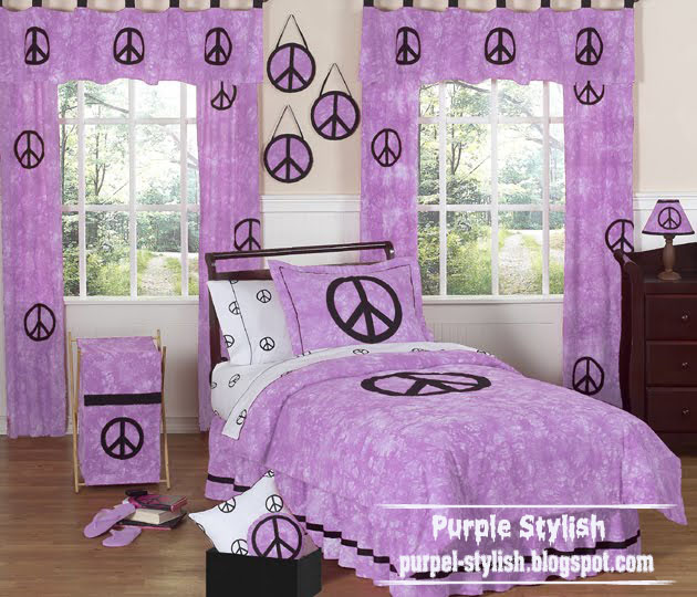 Purple Bedding And Curtain Style For S Room