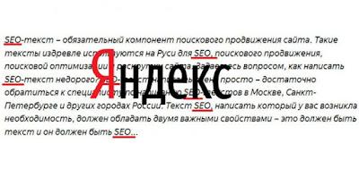 Переоптимізовані тексти. Яндекс