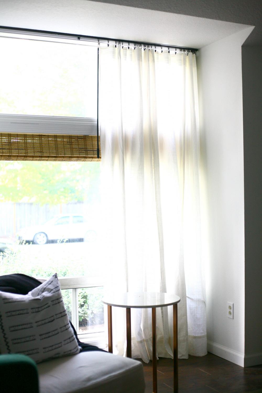 sleek ceiling mount curtain rod