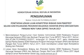Lokasi dan Jadwal Tes Seleksi PKH Kemensos 2017