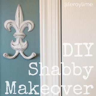 DIY Shabby Makeover - fleur de lis iron hook - leroylime