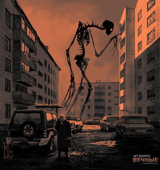 Boris Groh artstation arte ilustrações ficção científica terror fantasia macabra sombria esqueletos