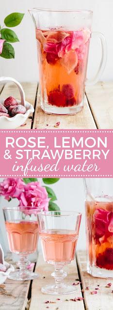 Rose, Lemon & Stawberry ínfused Water