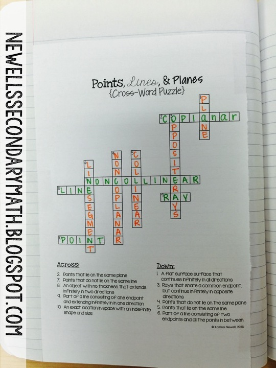 After The Crossword Puzzle We Jump Right Into Intersection Of Lines And Planes Foldable Complete Another Cut Paste