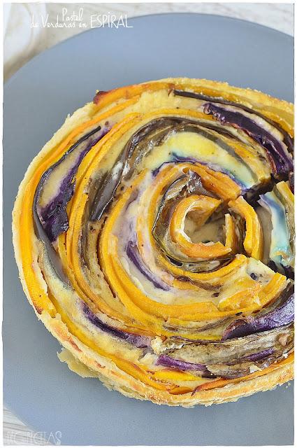 Pastel de verduras en espiral